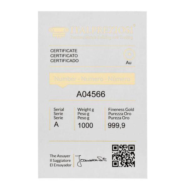 Lingotto Oro 1 kg - certificato - Italpreziosi