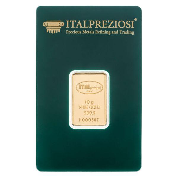 Lingotto oro 10 grammi - blister fronte - Italpreziosi