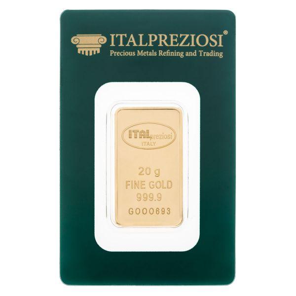 Lingotto Oro 20 grammi - blister fronte - Italpreziosi