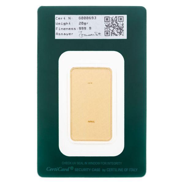 Lingotto Oro 20 grammi - blister retro - Italpreziosi