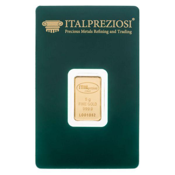 Lingotto Oro 5 grammi - blister fronte - Italpreziosi