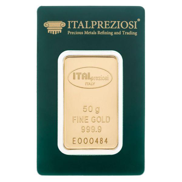 Lingotto Oro 50 grammi - blister fronte - Italpreziosi
