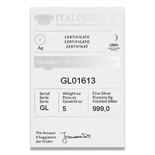 Pure Silver Bar 5 oz - certificate - Italpreziosi