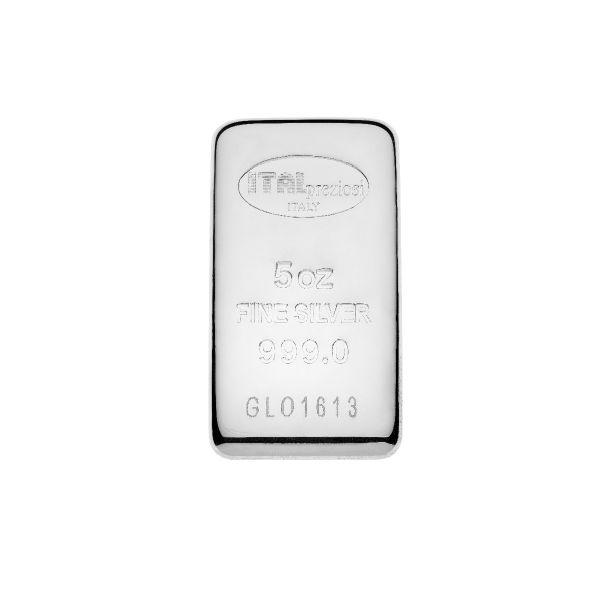 Pure Silver Bar 5 oz - vertical - Italpreziosi