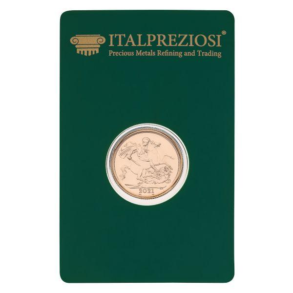 Sterlina oro Fior di Conio 2021 - blister fronte - Italpreziosi